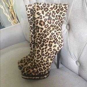 Kelsi Dagger Leopard Print Calf Hair Ankle Boots
